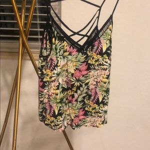Cute Crop Floral Tank Black Lush Strappy Small